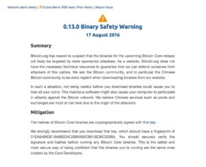Binary Safety Warning
